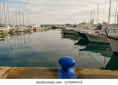 Alassio, Liguria / Italy - 12 30 2018: Scenic view of a harbour with docked boats