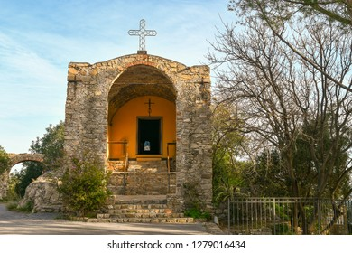 Alassio, Liguria / Italy - 12 31 2018: The Santa Croce church is situated along the ancient Roman road Julia Augusta and was built in the XI century by the Benedictine monks