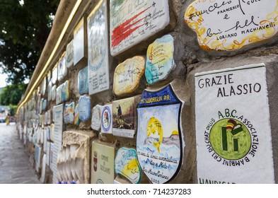 """Alassio (SV), ITALY - August 22, 2017: """"Muretto di Alassio"""", the famous Little Wall in Alassio."""