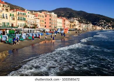 Alassio (SV), Italy - February 15, 2017: The Alassio beach, Riviera dei Fiori, Savona, Liguria, Italy.