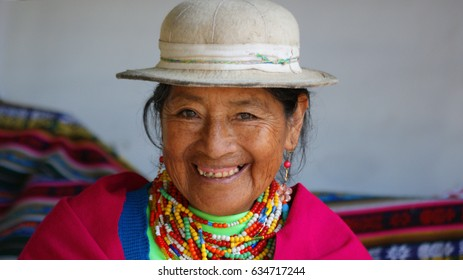 Alausi, Chimborazo / Ecuador - May 10 2010: Portrait of an indigenous old woman from the province of Chimborazo