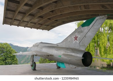Alaverdi, Armenia - Jun 10 2018- Mikoyan-Gurevich MiG-21 at Mikoyan Brothers Museum in Sanahin village, Alaverdi, Lori, Armenia. Sanahin is the hometown of Artem Mikoyan.