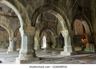 Alaverdi, Armenia - Jun 12 2018: Sanahin Monastery in Sanahin village, Alaverdi, Lori, Armenia. It is part of the World Heritage Site - Monasteries of Haghpat and Sanahin.