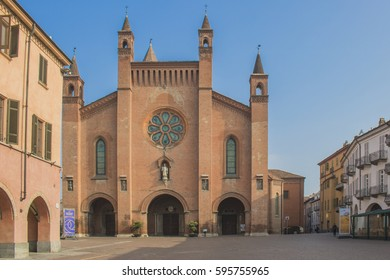 Alba (Cuneo, Piedmont, Italy), facade of the historic cathedral