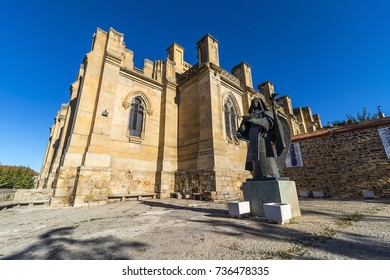 Alba de Tomes, Spain - October 7, 2017: The Basilica of Santa Teresa de Jesus, religious temple of the ducal village of Alba de Tormes, Spain. Unfinished neogothic style.