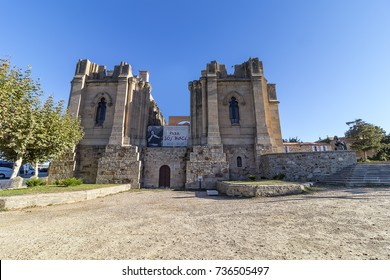 Alba de Tomes, Spain - October 7, 2017: The Basilica of St Teresa of Jesus, religious temple of the ducal village of Alba de Tormes, Spain. Unfinished neogothic style