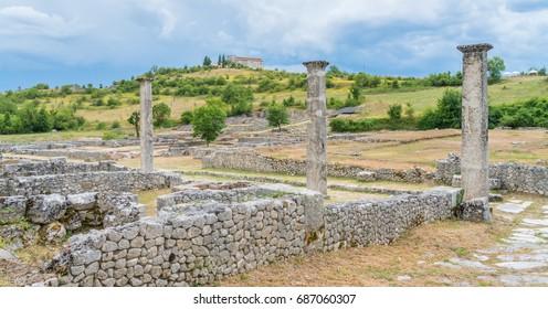 Alba Fucens, ancient Italic town at the foot of the Monte Velino, near Avezzano, Abruzzo, central Italy.