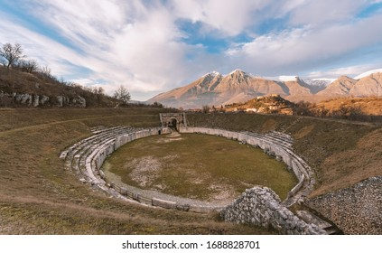 Alba Fucens (Italy) An ancient Roman Amphitheater dating the first half of the first century AD. Abruzzo region, central Italy