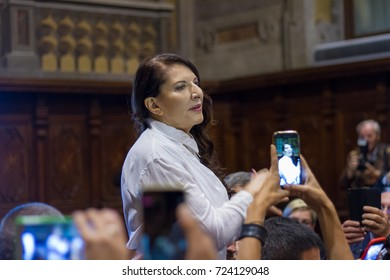 "ALBA. ITALY - 28/09/2017: Marina Abramovich artist having a speech in a performing day in Alba, Italy with the new retrospective called ""Holding the milk"" in front of people crowd for the meeting"
