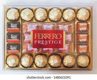 ALBA, ITALY - CIRCA AUGUST 2019: Ferrero prestige chocolate Pocket Coffee, Ferrero Rocher, Mon Cheri and Kuesschen