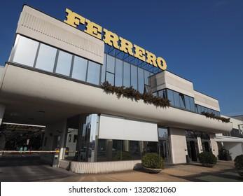 ALBA, ITALY - CIRCA FEBRUARY 2019: Ferrero chocolate producer and confectionery company headquarters