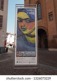 ALBA, ITALY - CIRCA FEBRUARY 2019: Dall'Espressionismo alla Nuova Oggettivita (meaning From Expressionism to New Objectivity) exhibition in Parma