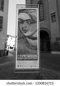 ALBA, ITALY - CIRCA FEBRUARY 2019: Dall'Espressionismo alla Nuova Oggettivita (meaning From Expressionism to New Objectivity) exhibition in Parma in black and white