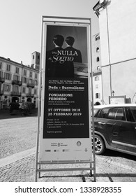 ALBA, ITALY - CIRCA FEBRUARY 2019: Dal Nulla al Sogno (meaning From Nothing to Dream) Dada and Surrealism exhibition at Fondazione Ferrero art gallery in black and white