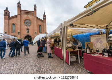 Alba, Italy - November 4, 2018: Tourists at the Truffle mushrooms fair and street market of Alba, Piedmont.