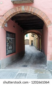 Alba, Italy - October 1, 2018: Old beautiful alley in the historic city of Alba in Tuscany in Italy