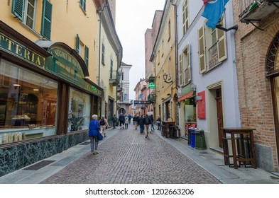 Alba, Italy - October 1, 2018: Street view from the city of Alba in Piedmont in Italy - UNESCO world heritage site