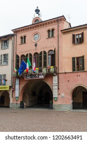 Alba, Italy - October 1, 2018: The City Hall in the historic town Alba in Tuscany in Italy