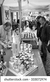 ALBA, ITALY/CUNEO - OCTOBER 24: a stall of truffle sellers in Alba, little city in the Province of Cuneo (Piedmont, Northern Italy), during the international truffle fair. Alba, October 24, 2015