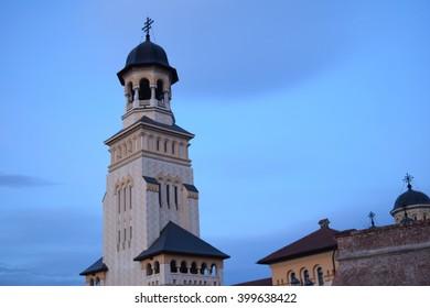 Alba Iulia coronation cathedral, orthodox church inside Alba Iulia citadel, Romania.