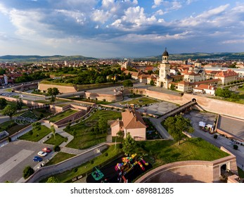 Alba Iulia Romania aerial view from helicopter