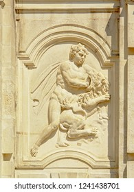 ALBA IULIA, ROMANIA, AUGUST 16, 2018, Hercules, accomplishing one of his twelve labors: slaying the Nemean lion , detail of the medieval city gate of the citadel of  Alba Iulia, 16 August  2018