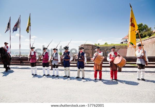 ALBA IULIA, ROMANIA - JULY 12: Since 2009 at 12 sharp takes place the ceremonial of changing the guard at  Alba Carolina Fortress on  July 12, 2010 in  Alba Iulia, Romania.