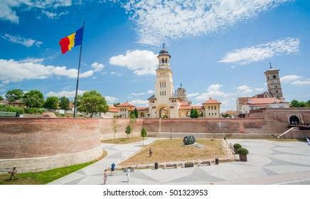 ALBA IULIA, ROMANIA - JULY, 2015: Tourists visit the  the Alba Carolina Fortress