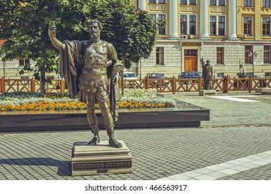 Alba Iulia, Romania - July 24, 2016: Imposing bronze statue in Alba Carolina Citadel square depicting Septimius Severus, also known as Severus,  Roman emperor from 193 to 211 A.D.