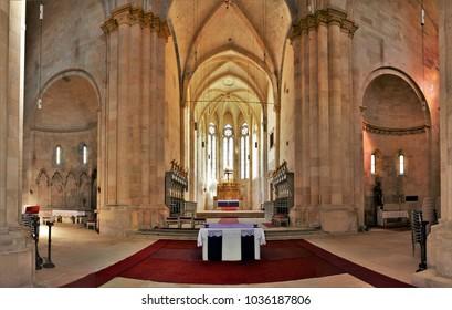 Alba Iulia, Romania - Mar 28, 2017: Interior of St. Michael's Cathedral in Citadel of Alba Iulia city