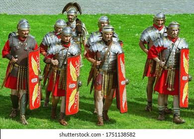 """Alba Iulia, Romania - May 04, 2019: Roman Legionnaires of Legio XIII Gemina during the Festival Roman Apulum """"Revolta""""."""