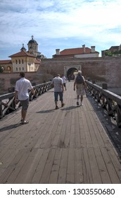 Alba Iulia/Romania - August 08 2014: Tourists at Citadel of Alba Iulia.The bastion was built between 1714-1738 and is considered the most representative fortification by Vauban type from Romania.