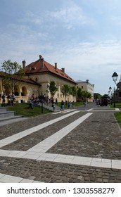 Alba Iulia/Romania - August 08 2014: Inside the Citadel of Alba Iulia. The citadel was built between 1714-1738 and is considered the most representative fortification by Vauban type from Romania.