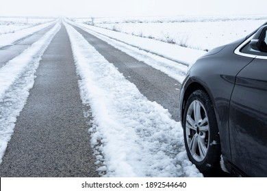 Albacete, Spain; 2021-01-08; Wheel marks on snow and car