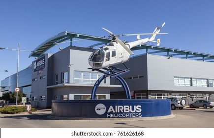 ALBACETE, SPAIN - NOVEMBER 13 2017: Leading manufacturer of helicopters Airbus Helicopters is preparing important changes in its production model at its plant in Spain.