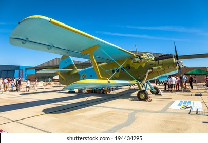 ALBACETE, SPAIN-JUN 23:  Aircraft Antonov An-2 taking part in a static exhibition on the open day of the airbase of Los Llanos on Jun 23, 2013, in Albacete, Spain