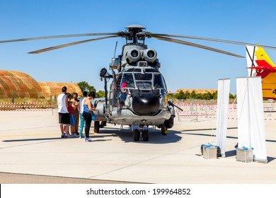 ALBACETE, SPAIN-JUN 23:  Helicopter Eurocopter AS332 Super Puma taking part in a static exhibition on the open day of the airbase of Los Llanos on Jun 23, 2013, in Albacete, Spain
