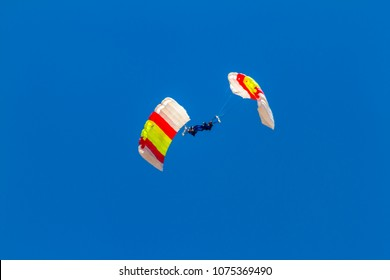 ALBACETE, SPAIN-JUN 23:  Parachutist of the PAPEA taking part in an exhibition on the open day of the airbase of Los Llanos on Jun 23, 2013, in Albacete, Spain