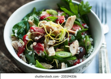 Albacore tuna salad with rice and vegetables