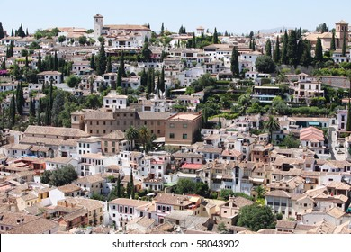 Albaicin (Old Muslim quarter) district of Granada seen from Alhambra Palace.