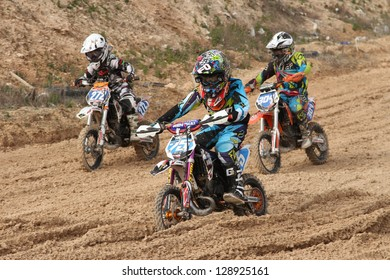ALBAIDA, SPAIN - FEBRUARY 17:An unidentified riders of motorcycling in the Spanish championship of motocross on February 17, 2013, Albaida, Spain