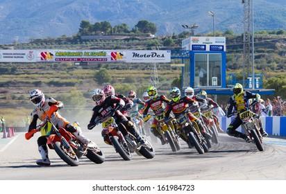 ALBAIDA, SPAIN - NOV 03: An unidentified pilot of motorcycling in the Spanish championship of supermotard on November 03, 2013, Albaida, Spain