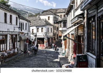 Gjirokastër, Albania, 09 28 2016: old town of Gjirokastër in Albania