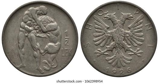 Albania Albanian coin 1/2 half lek 1926, Hercules wrestling Nemean lion, eagle with two heads, date below,