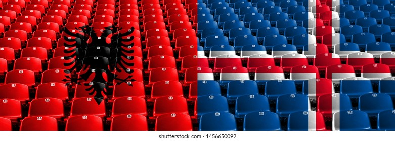 Albania, Albanian, Iceland, flip stadium seats concept. European football qualifications games.