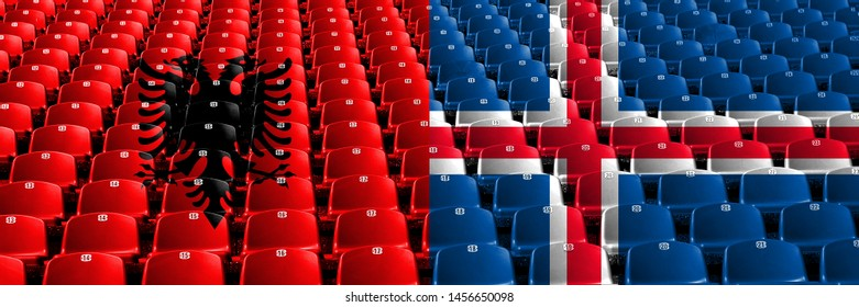 Albania, Albanian, Iceland stadium seats concept. European football qualifications games.