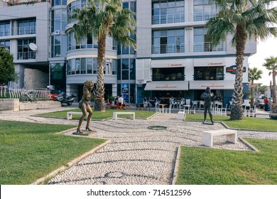 ALBANIA, DURRES - September 22, 2015: Sculpture of Tina Turner and Mick Jagger on the waterfront by the cafe.