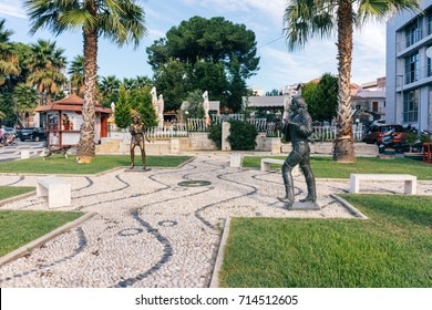 ALBANIA, DURRES - September 22, 2015: Sculpture by Tina Turner and Mick Jagger on the waterfront by the cafe.