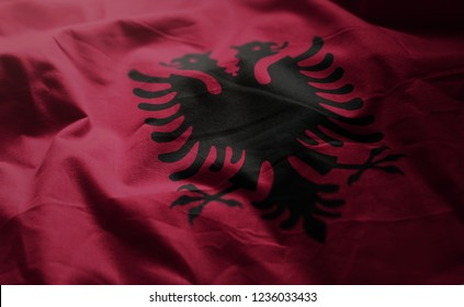 Albania Flag Rumpled Close Up