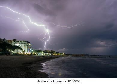 ALBANIA, GOLEM- September 20, 2015: Thunderstorm and lightning at the resort place Golem on the Adriatic coast.